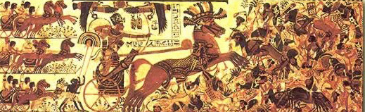 Tutankhamun who probably never went to battle, nevertheless smiting the enemy from his chariot