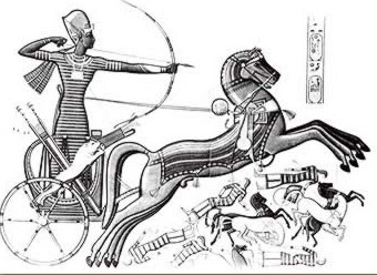 Ramesses II firing arrows  from his chariot, often depicted without a driver