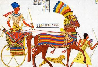 Ramesses II with his chariot runner and pet lion
