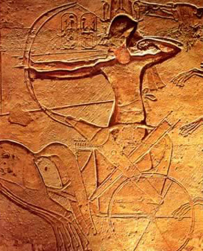 Ramesses II in battle, often depicted without a driver