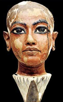 Painted wooden head of Nefertem from the tomb of Tutankhamun