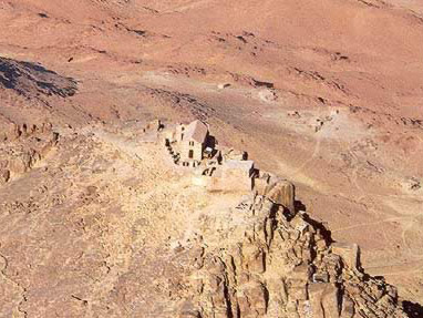 A view of the chapel that sits on the Summit of Mount Sinai