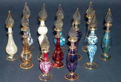 Our hand blown perfume bottle groups are great for office and other Christmas parties