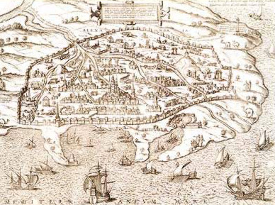 A map dating to 1619 showing the branches of the Canopic canal into Alexandria