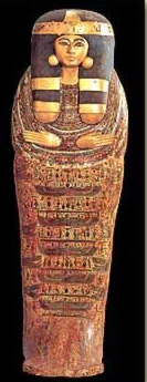 Late 21st Dynasty coffin of Isis-em-akhbit. Not the earings rather than ears, usually depicted on men's coffins