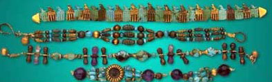 from the 1st Dynasty tomb of Djer, jewelry in gold and with stones of Lapis Lazuli, turquoise and Amethyst