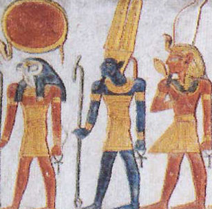 Center is a blue version of the god Amun, from the Tomb of Ramesses VI on the West Bank at Luxor