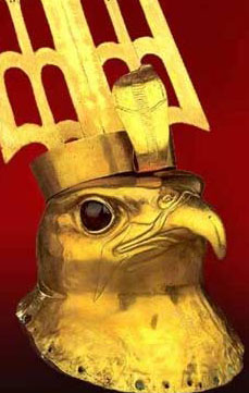 A golden Horus head from the Temple of Horus at Nekhen