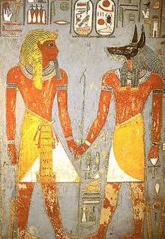 King Horemheb and the black-headed Anubis from his tomb in the fally of the kings