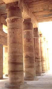 Tent Pole style columns in the Festival Temple of Tuthmosis III at Karnak