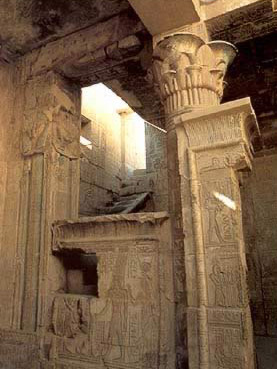 Interior of the Temple of Hathor at Deir el-Medina, a local shtrine