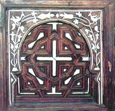 Coptic design in wood from an ancient Coptic church