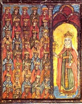 Saint Damian and her forty virgins in the Shrine of Saint Damiana, near Bilqas, Mansura