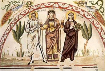 Theodosia flanked by St. Colluthus and St. Mary