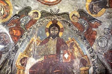 A wall painting in the chapel of the Apocalypse showing Christ enthroned in the St. Anthony Monastery