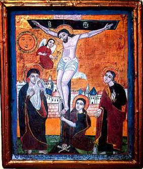 A rare depiction of the Crucifixion now located in the Al Au'allaqah Chruch in Cairo