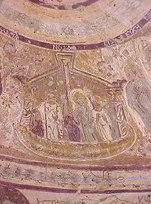 A painting from the copula in the Chapel of Peace at Bagawat - Noah's ark