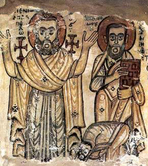 Details of Saints Appllo and Pamun from a 7th century painting in the monastery of Saint Jeremiah at Saqqara, now in the Coptic Museum