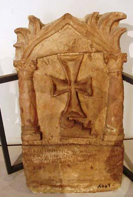One of the funerary stelae within the museum collection