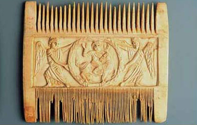A comb showing the Raising of Lazarus and the Healing fo the Bland, dating to the 6th century and made of Ivory