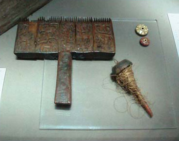 Other exhibits of the museum include these tools used in the production of Coptic textiles