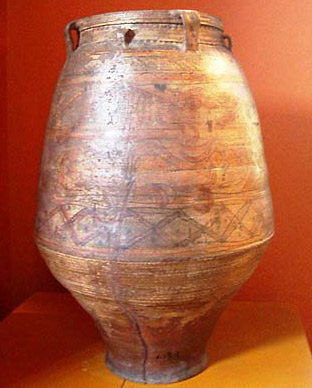 A large clay pot dating to the 7th or th century