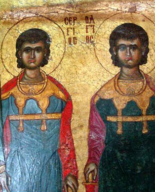 Saints Serguis and Bachus showing a somewhat typical Coptic pose