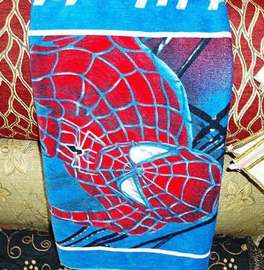 Great for kids! a  spyderman towel in pure, soft Egyptian cotton