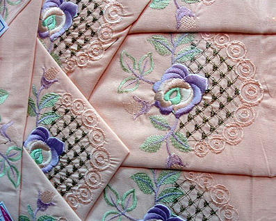 Fancy, pure cotton sheets and accessories with embroider work