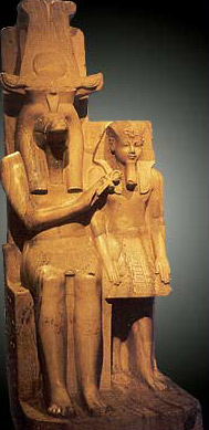 Calcie (Alabaster) pair statue of sobek with Amenhotep III of the 18th Dynasty, now in the Luxor Museum