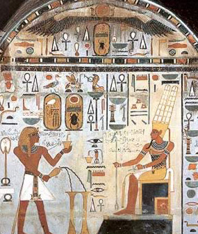 Tuthmosis III (at left) offers incense and libation before Amun