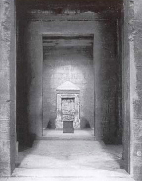 Looking into the inner sanctuary and shrine of the temple of Horus at Edfu