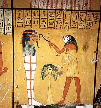 A depiction of the opening of the mouth scene in the tomb of Inherkha, Thebes