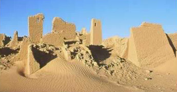 Another view of the ruins around the fortress at Ain Umm Dabadib in the Kharga Oasis