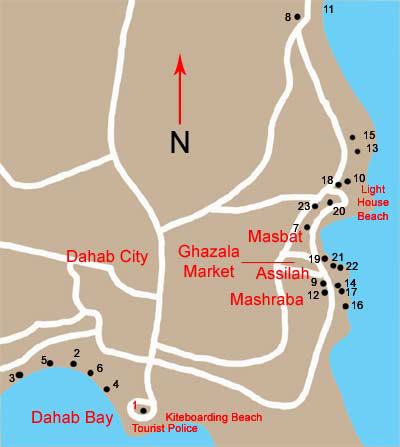 Egypt Travel Sinai Dahab - Map of egypt dahab