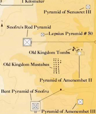 A map of the Pyramid field at Dahshur in Egypt