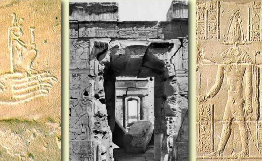 Left: The pharaoh offers the goddess Ma'at, a personification of universal order; Center: An old photograph showing the axis of the temple through the pylon; Right: The god, Khnoum, one of the decorations provided by Augustus
