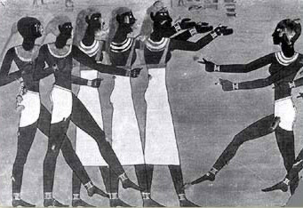 Copy of a wall painting with dancers from the tomb of Intefoker at Thebes