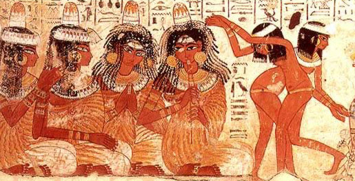 Detail from a banquet scene in the tomb of Nebamun at Thebes