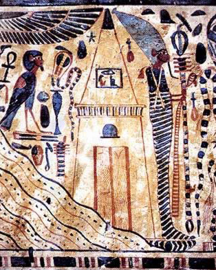 Osiris, wrapped in a mummy's bandages, stands beside a stylized tomb