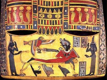 Osiris being morned by Nephthys and Isis on his funeary bier