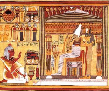 Osiris sits in judgement of the dead in the Book of the Dead