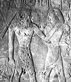 Scenes of Dedwen embracing Tuthmosis III