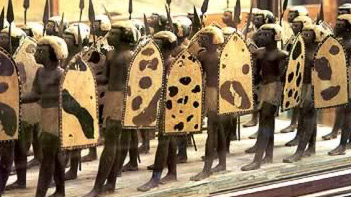 A model showing Egyptian soldiers with their shields, from Egypt's Middle Kingdom