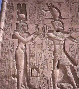 Cleopatra VII Philopator and Caesarion from the rear of the Temple of Hathor at Dendera