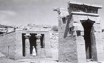 An old photograph of the Temple of Dendur prior to its relocation