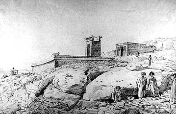 A drawing of the Temple of Dendur by Henry Salt prior to its relocation
