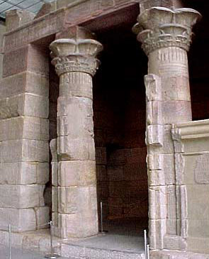A close up view of the columns of the Temple of Dendur in New York