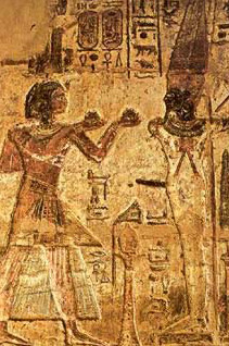Ramess makes offerings to Amun-Re in his orm of Kamutef,