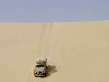 It can be a lonely place for a single vehicle in the vast desert